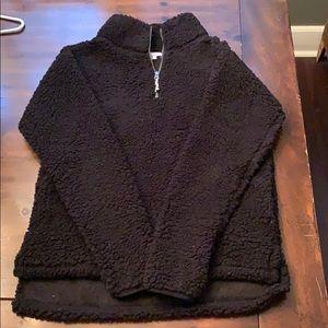 SO black 1/4 zip Sherpa. Size M.